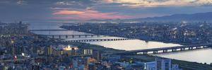 View of Yodo River and Osaka Bay at Sunset, Osaka, Kansai, Japan by Ian Trower