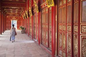 Woman at Imperial Palace in Citadel, Hue, Thua Thien-Hue, Vietnam, Indochina, Southeast Asia, Asia by Ian Trower