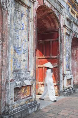 Woman Wearing Ao Dai Dress at Dien Tho Inside Citadel, Hue, Thua Thien-Hue, Vietnam (Mr) by Ian Trower