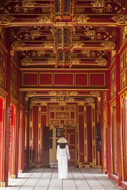 Woman Wearing Ao Dai Dress in Imperial Palace Inside Citadel, Hue, Thua Thien-Hue, Vietnam (Mr) by Ian Trower