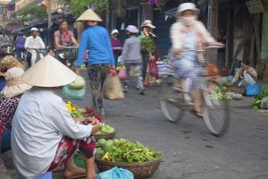 Women Vendors Selling Vegetables at Market, Hoi An, Quang Nam, Vietnam, Indochina by Ian Trower