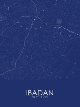 Ibadan, Nigeria Blue Map