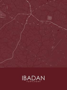 Ibadan, Nigeria Red Map