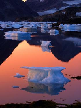 Iceberg Floats in the Bay in Kulusuk, Greenland Near the Arctic Circle