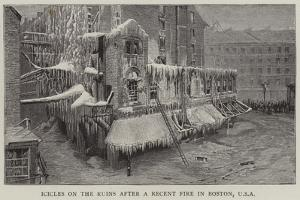 Icicles on the Ruins after a Recent Fire in Boston, USA