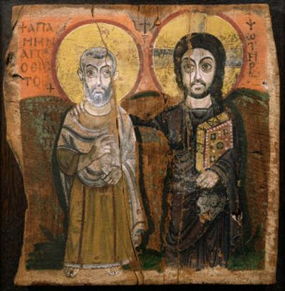 Icon Depicting Abbott Mena with Christ, from Baouit, 6th-7th Century