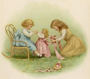 Doll is Dressed by Two Girls One in Front of Her While the Other Ties Her Sash Behind by Ida Waugh