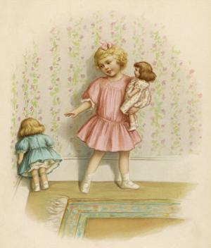 Small Girl Makes One of Her Dolls Stand in the Corner as a Punishment for Misbehaving by Ida Waugh