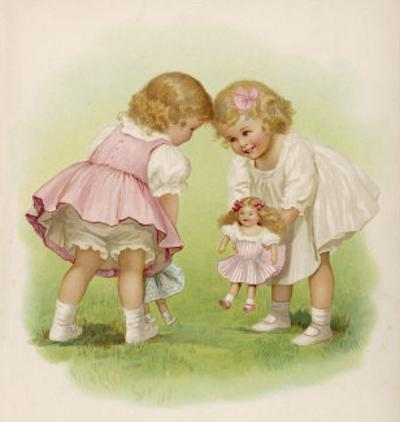 Two Very Small Girls Introduce Their Dolls to Each Other