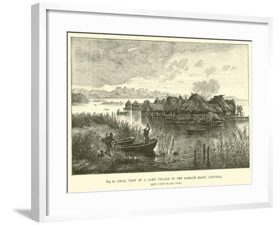 Ideal View of a Lake Village in the Laibach Basin, Carniola--Framed Giclee Print