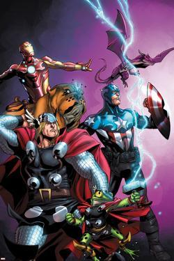 Avengers vs. Pet Avengers No.1 Cover: Thor, Captain America, Iron Man, Throg, Lockjaw, and Lockheed by Ig Guara