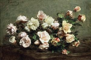 Vase of White Roses on a Table; Vase De Roses Blanches Et Roses Sur La Table by Ignace Henri Jean Fantin-Latour