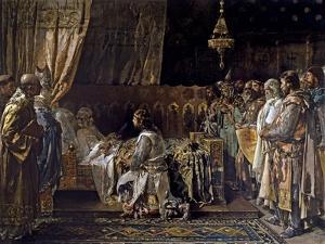 In His Final Moments, King Jaime El Conquistador Gives His Sword to His Son, Pedro, 1881 by Ignacio Pinazo camarlench
