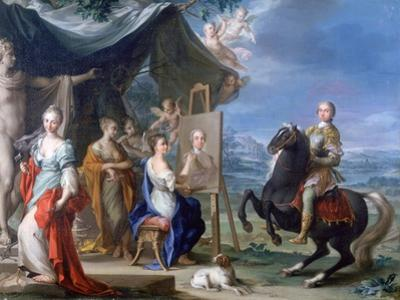 Equestrian Portrait of a Nobleman.. as Protector of the Arts, C1699-1748