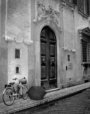 Umbrella and Bicycle by the Door by Igor Maloratsky