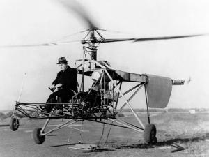 Igor Sikorsky at the Controls of the VS-300 Helicopter