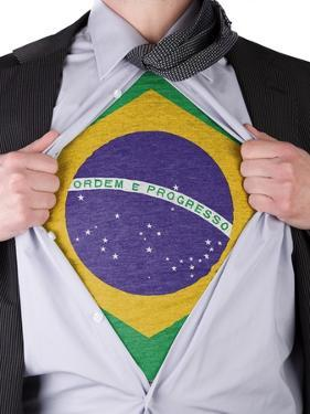 Business Man With Brazilian Flag T-Shirt by IJdema