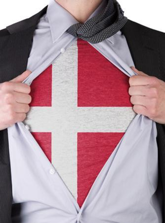 Business Man With Danish Flag T-Shirt by IJdema