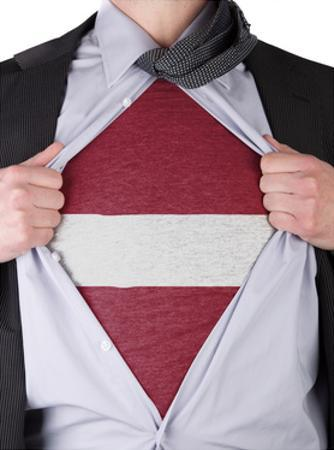 Business Man With Latvian Flag T-Shirt by IJdema