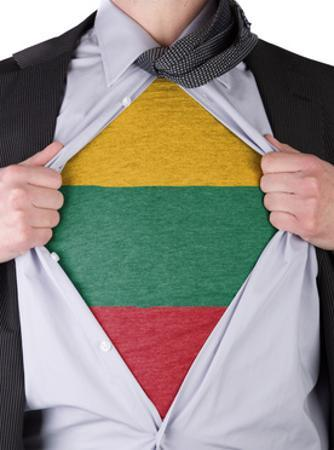 Business Man With Lithuanian Flag T-Shirt by IJdema