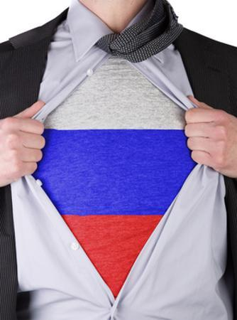 Business Man With Russian Flag T-Shirt by IJdema