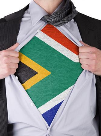 Business Man With South African Flag T-Shirt by IJdema