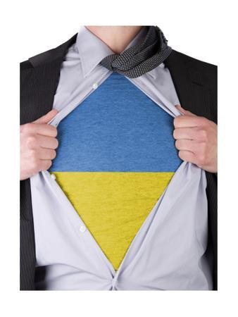 Business Man With Ukrainian Flag T-Shirt by IJdema