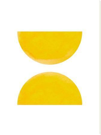 Watercolor Yellow Half Moon Circles by Ikonolexi