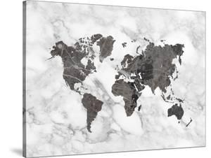 World Map Art Black And White Marble by Ikonolexi