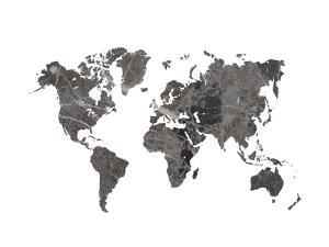 World Map Art Black Marble by Ikonolexi
