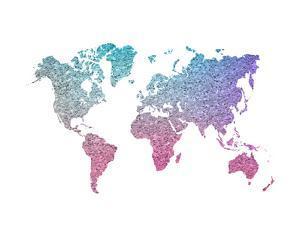 World Map Art Colorful Glitter by Ikonolexi
