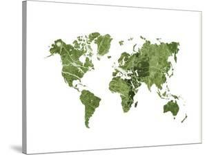 World Map Art Green Marble by Ikonolexi