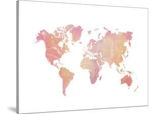 World Map Art Pink Marble by Ikonolexi