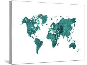 World Map Art Teal Marble by Ikonolexi