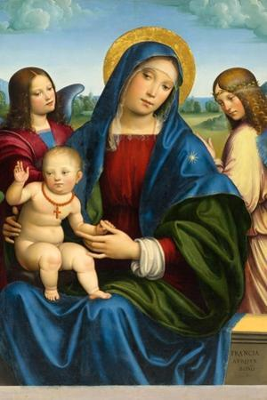 Madonna and Child with Two Angels, c.1495-1500 by Il Francia