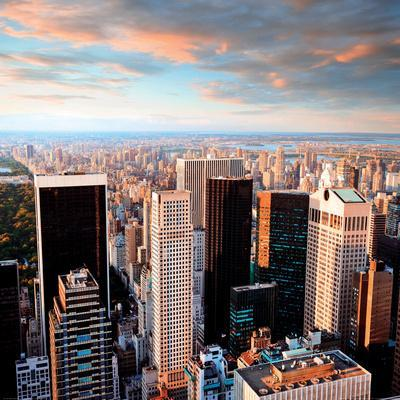 Manhattan at Sunset-Central Park Side View-New York