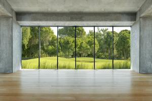 Lofty House with Wooden Floor and Large Windows in the Countryside by ilker canikligil