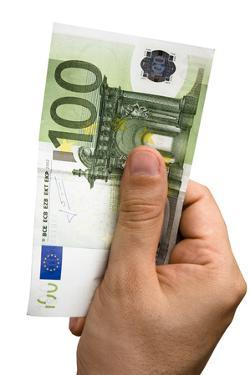 Male Hand Holding 100 Euro Bill by ilker canikligil