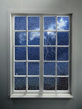 Modern Residential Window with Lightning and Rain Behind by ilker canikligil