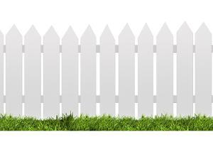 White Fence with Green Grass Isolated on White with Clipping Path by ilker canikligil