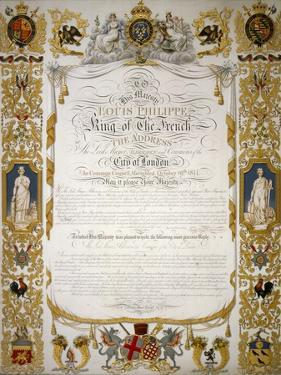 Illuminated Address from the Corporation of London to Louis Philippe of France, 1844 by H Dowse