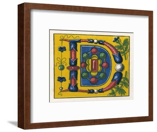Illuminated Letter D--Framed Giclee Print