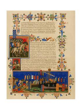 Illuminated Manuscript Page Depicting the Crusades, in French