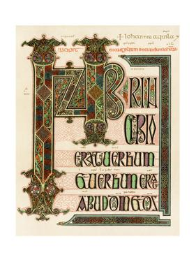 Illuminated Manuscript Page of the Lindisfarne Gospels, England, Circa 700 AD