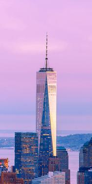 Illuminated One World Trade Center Amidst Buildings Against Sky in City at Dusk, Manhattan