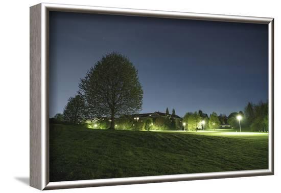 illuminateded park by night-Benjamin Engler-Framed Photographic Print