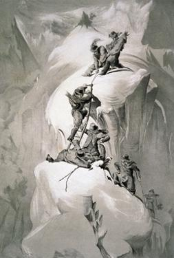 Illustration Depicting Expedition Members on the Ascent of Mont Blanc
