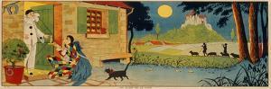 Illustration for 'Au Clair De La Lune', C.1930 (Colour Litho)