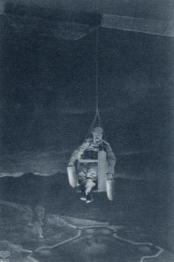 Illustration from a German Postcard Showing a Supposed 'Bomb Dropper' Suspended