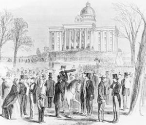 Illustration of a Crowd Gathered at the State Capitol in Montgomery